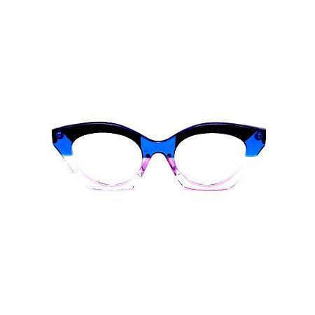 Armação para óculos de Grau Gustavo Eyewear G71 20. Cor: Azul e fumê translúcido e preto. Haste azul.