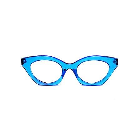 Armação para óculos de Grau Gustavo Eyewear G71 21. Cor: Azul translúcido. Haste animal print.