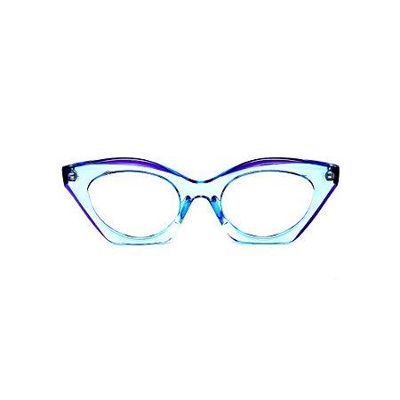Armação para óculos de Grau Gustavo Eyewear G71 22. Cor: Azul e violeta translúcido. Haste violeta.