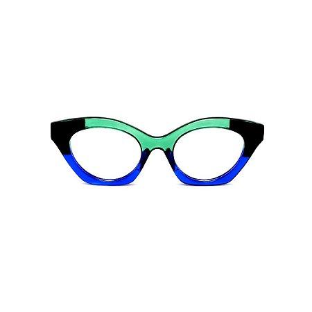 Armação para óculos de Grau Gustavo Eyewear G71 23. Cor: Verde, preto e azul translúcido. Haste preta.