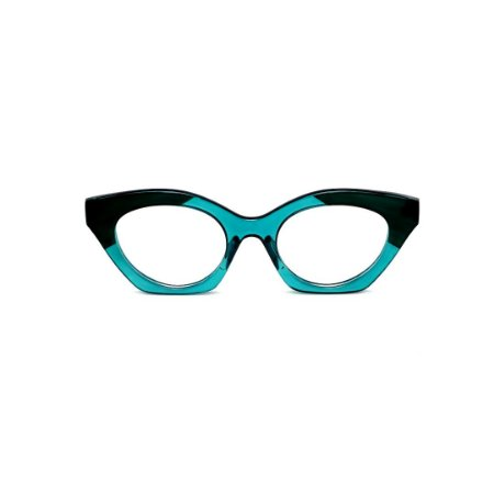 Armação para óculos de Grau Gustavo Eyewear G71 24. Cor: Verde translúcido e preto. Haste verde.