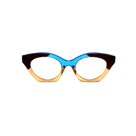 Armação para óculos de Grau Gustavo Eyewear G71 28. Cor: Âmbar, preto e azul translúcido. Haste animal print.