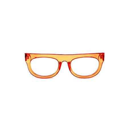 Armação para óculos de Grau Gustavo Eyewear G14 12. Cor: Laranja translúcido. Haste animal print.