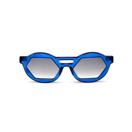 Óculos de Sol Gustavo Eyewear G134 5. Cor: Azul translúcido. Haste animal print. Lentes cinza.
