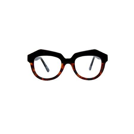 Armação para óculos de Grau Gustavo Eyewear G37 10. Cor: Animal print e preto. Haste animal print.
