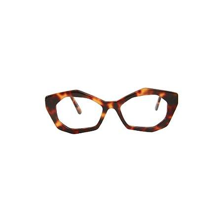 Armação para óculos de Grau Gustavo Eyewear G53 4. Cor: Animal print. Haste animal print.