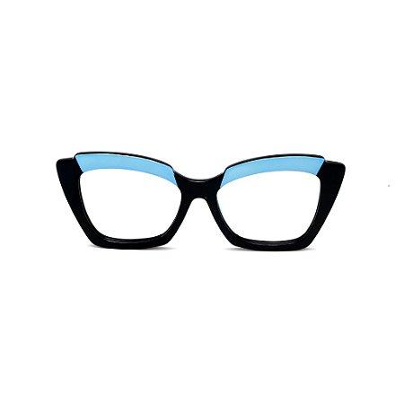 Armação para óculos de Grau Gustavo Eyewear G111 8. Cor: Preto e azul opaco. Haste preto.