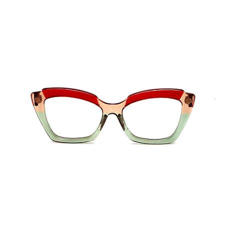 Armação para óculos de Grau Gustavo Eyewear G111 9. Cor: Vermelho, âmbar e fumê translúcido. Haste vermelha.
