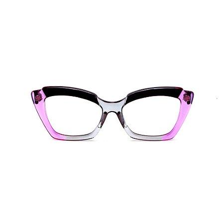 Armação para óculos de Grau Gustavo Eyewear G111 12. Cor: Preto, fumê e violeta translúcido. Haste preta.