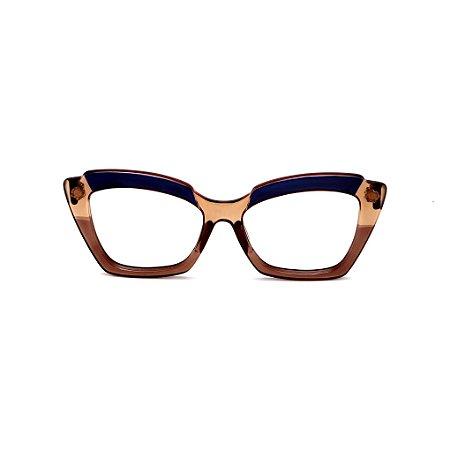 Armação para óculos de Grau Gustavo Eyewear G111 13. Cor: Azul, âmbar e caramelo translúcido. Haste azul.