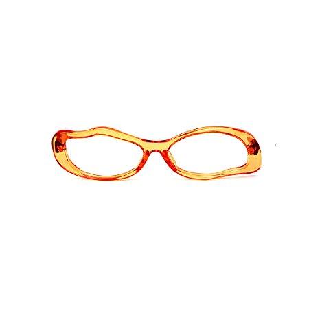 Armação para óculos de Grau Gustavo Eyewear G15 6. Cor: Laranja translúcido. Haste animal print.