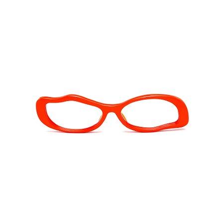 Armação para óculos de Grau Gustavo Eyewear G15 8. Cor: Laranja opaco. Haste animal print.