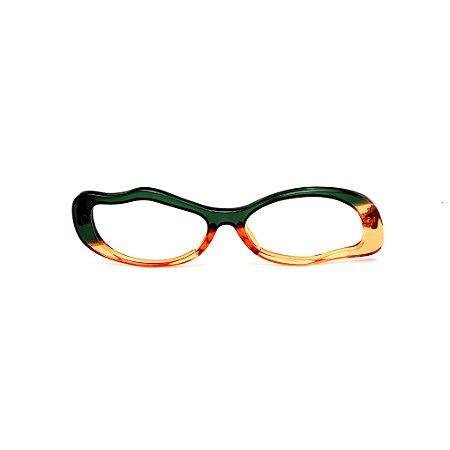 Armação para óculos de Grau Gustavo Eyewear G15 10. Cor: Verde e laranja translúcido. Haste preta.