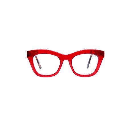 Armação para óculos de Grau Gustavo Eyewear G69 2. Cor: Vermelho translúcido. Haste animal print.