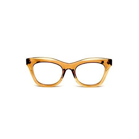 Armação para óculos de Grau Gustavo Eyewear G69 3. Cor: Âmbar translúcido. Haste animal print.