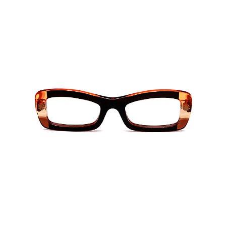 Armação para óculos de Grau Gustavo Eyewear G34 9. Cor: Preto, âmbar e laranja translúcido. Haste laranja.