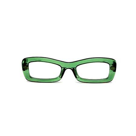 Armação para óculos de Grau Gustavo Eyewear G34 10. Cor: Verde translúcido. Haste animal print.
