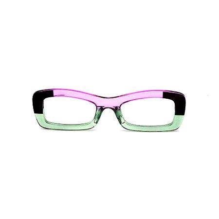 Armação para óculos de Grau Gustavo Eyewear G34 13. Cor: Preto, acqua e violeta translúcido. Haste preta.