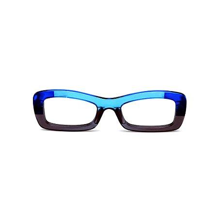 Armação para óculos de Grau Gustavo Eyewear G34 12. Cor: Azul, azul claro e fumê translúcido. Haste azul.