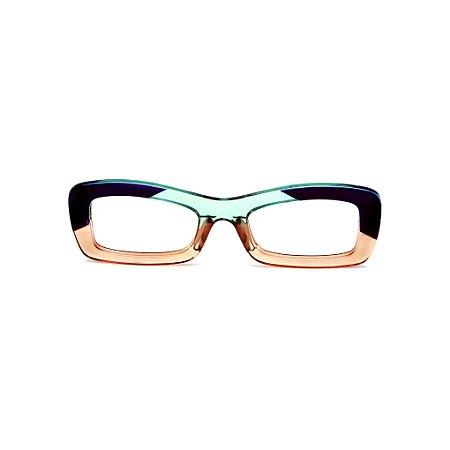 Armação para óculos de Grau Gustavo Eyewear G34 14. Cor: Roxo, acqua e âmbar. Haste acqua.