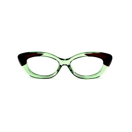 Armação para óculos de Grau Gustavo Eyewear G103 2. Cor: Verde e marrom translúcido. Haste animal print.