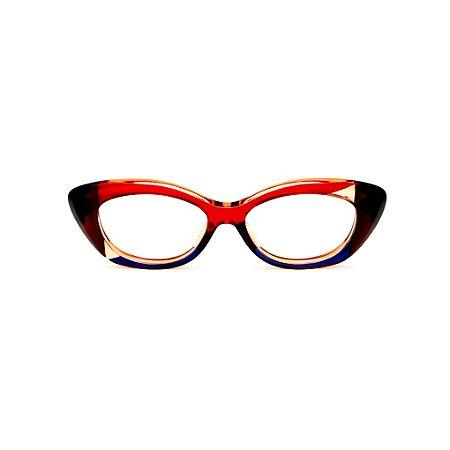 Armação para óculos de Grau Gustavo Eyewear G103 5. Cor: Vermelho, azul, âmbar e marrom translúcido. Haste animal print.