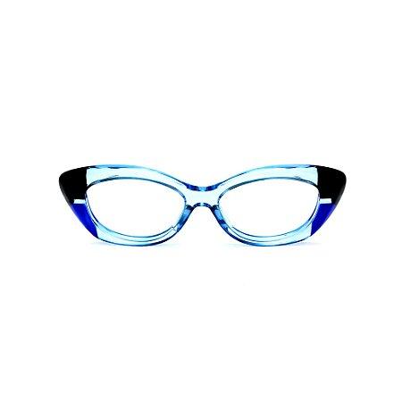 Armação para óculos de Grau Gustavo Eyewear G103 6. Cor: Preto, azul e azul claro translúcido. Haste preta.