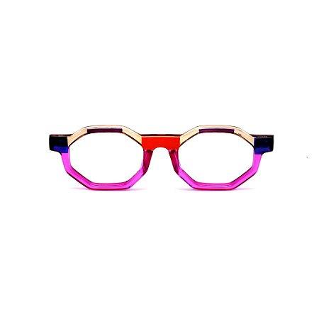 Armação para óculos de Grau Gustavo Eyewear G136 2. Cor: Vermelho, violeta, âmbar, azul roxo translúcido. Haste azul.