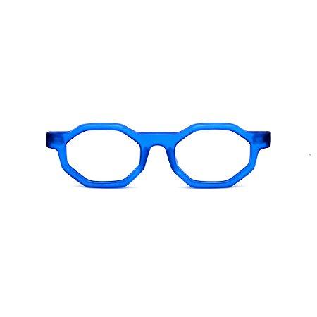 Armação para óculos de Grau Gustavo Eyewear G136 4. Cor: Azul fosco. Haste animal print.