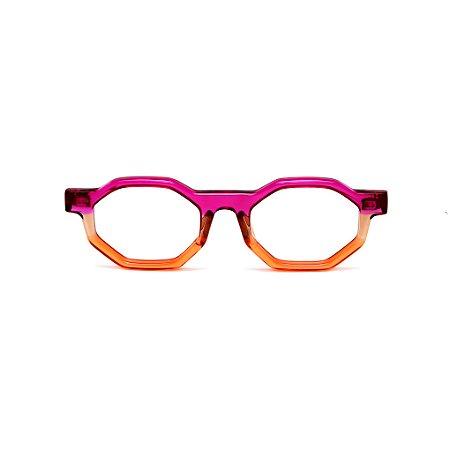 Armação para óculos de Grau Gustavo Eyewear G136 7. Cor: Violeta, âmbar e laranja translúcido. Haste violeta.