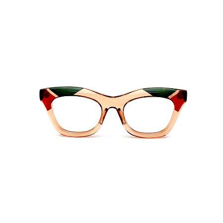 Armação para óculos de Grau Gustavo Eyewear G69 13. Cor: Âmbar, vermelho e verde translúcido. Haste preta.