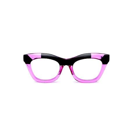 Armação para óculos de Grau Gustavo Eyewear G69 15. Cor: Preto e violeta translúcido. Haste preta.