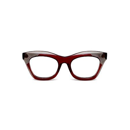 Armação para óculos de Grau Gustavo Eyewear G40 200. Cor: Vermelho e fumê translúcido. Haste vermelha.