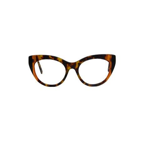Armação para óculos de Grau Gustavo Eyewear G65 6. Cor: Animal print com listras âmbar e preto. Haste animal print.
