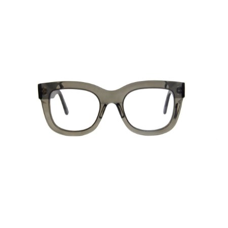 Armação para óculos de Grau Gustavo Eyewear G57 1004. Cor: Fumê translúcido. Haste preta.