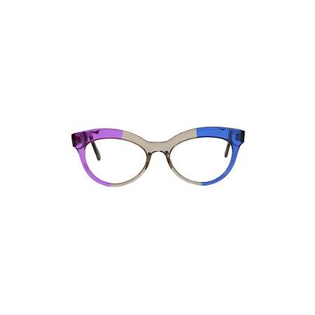 Armação para óculos de Grau Gustavo Eyewear G38 2000. Cor: Lilás, fumê e azul translúcidos. Haste preta.
