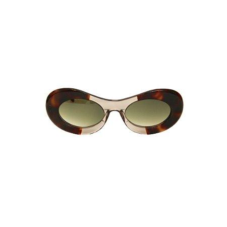 Óculos de Sol Gustavo Eyewear G89 6. Cor: Animal print com âmbar translúcido. Haste animal print. Lentes cinza.