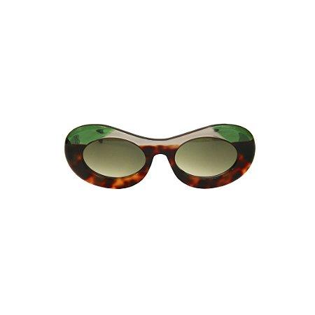 Óculos de Sol Gustavo Eyewear G89 9. Cor: Animal print, fumê e verde translúcidos. Haste verde translúcido. Lentes cinza.