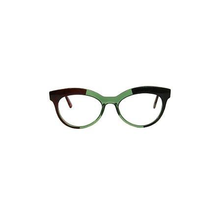 Armação para óculos de Grau Gustavo Eyewear G38 2. Cor: Vinho, preto e verde translúcido. Haste animal print.