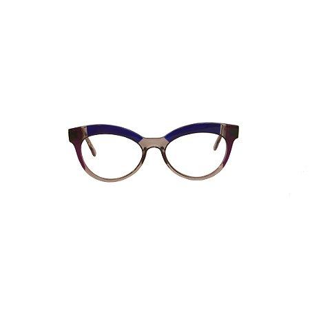 Armação para óculos de Grau Gustavo Eyewear G38 3. Cor: Fumê, azul e lilás translúcidos. Haste fumê.