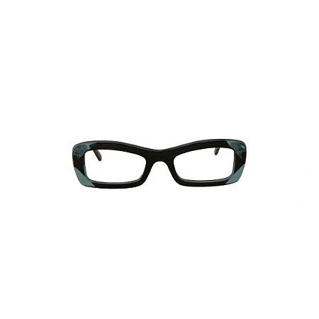 Armação para óculos de Grau Gustavo Eyewear G34 11. Cor: Preto e acqua translúcido. Haste preta.