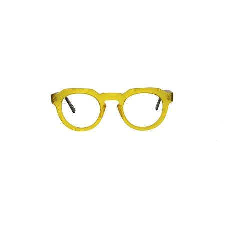 Armação para óculos de Grau Gustavo Eyewear G66 700. Cor: Amarelo Opaco. Haste preta.