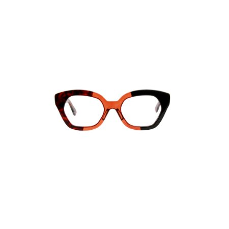Armação para óculos de Grau Gustavo Eyewear G70 7. Cor: Animal print, laranja translúcido e preto. Haste animal print.