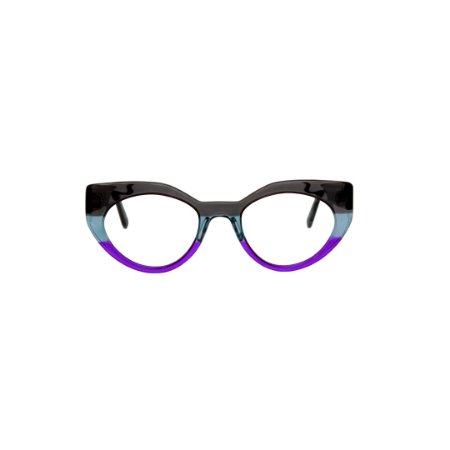Armação para óculos de Grau Gustavo Eyewear G93 2. Cor: Fumê, azul e lilás translúcidos. Haste preta.