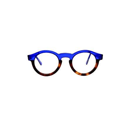 Armação para óculos de Grau Gustavo Eyewear G29 2000. Modelo masculino. Cor: Animal print e azul translúcido. Haste azul translúcido.
