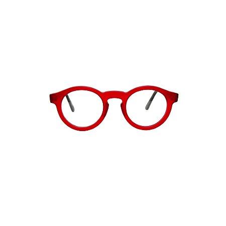 Armação para óculos de Grau Gustavo Eyewear G29 4000. Modelo masculino. Cor: Vermelho translúcido. Haste preta.