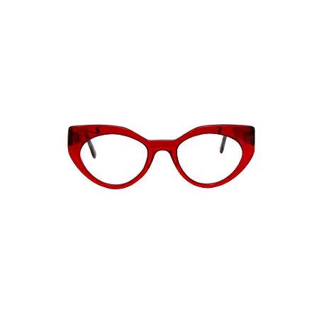 Armação para óculos de Grau Gustavo Eyewear G93 9. Cor: Vermelho translúcido. Haste preta.