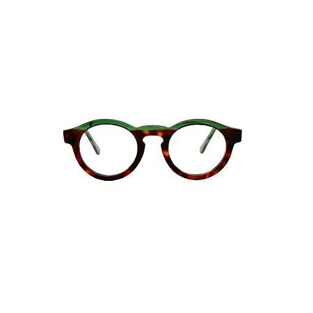 Armação para óculos de Grau Gustavo Eyewear G29 1. Modelo Masculino. Cor: Animal print e verde translúcido. Haste verde translúcido.