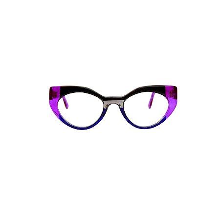Armação para óculos de Grau Gustavo Eyewear G93 12. Cor: Lilás, preto, fumê e azul translúcidos. Haste lilás translúcido.