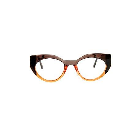 Armação para óculos de Grau Gustavo Eyewear G93 14. Cor: Fumê, preto e laranja translúcido. Haste laranja translúcido.